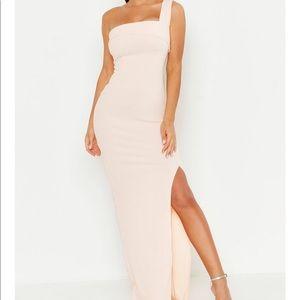 One Shoulder Thigh Split Maxi Dress